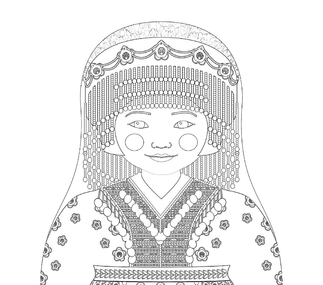 Hmong girl matryoshka coloring sheet printable file Hmong New Year Coloring Page Hmong Paper Dolls Hmong Symbols Coloring Pages