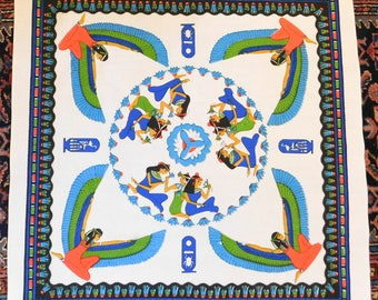 Vintage Small Cotton Tablecloth w/ Colorful Egyptian Motif - Probably a 1970s Souvenir or Egypt - Heavy Off-White Cotton, Finished Edges