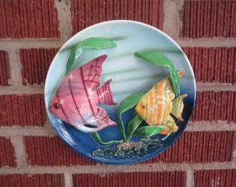 Vintage 1940s/50s Tropical Angel Fish Hanging Pottery Wall Plaque