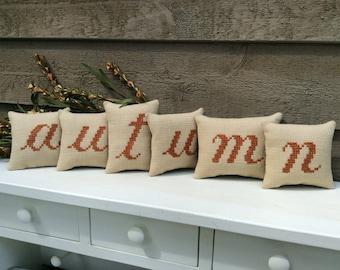 "autumn"" Shelf Pillows/ Fall Mantle Decoration/ Mini Word Pillow"