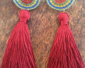 Valentines red tassel earrings   long red tassels   woven crin and tassels   dangling red tassel earrings