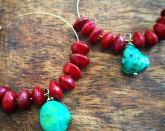 Valentines Day Turquoise hoop earrings   gold filled hoops   turquoise and red   red seed earrings
