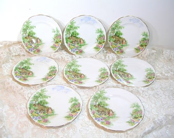 Wayside Roslyn Fine Bone China England Cottage Design Plates, Set of Eight