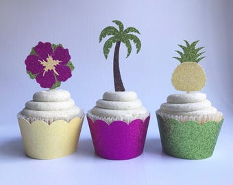 Tropical Toppers| Palm Tree Toppers| Pineapple Toppers| Glitter Cupcake Toppers| Aloha Toppers| Luau Toppers| Luau Party Decor