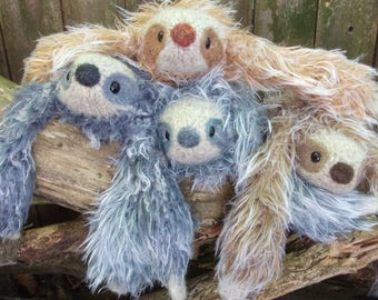 Sloth stuffed animal, Sloth plush, mama and baby sloth, stuffed sloth, mini sloth, pocket sloth, tiny sloth, kawaii sloth, made to order