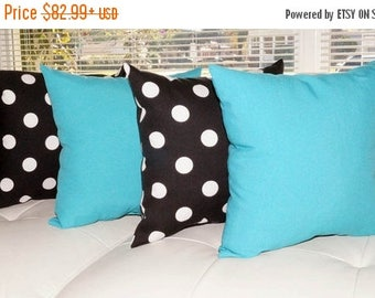 Fresco Atlantis turquoise and Polka Black and White Outdoor Throw Pillow  - Set of 4 - Free shipping
