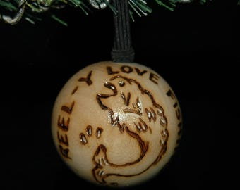 Fishing Ornament - Wood Burned - Personalized - Solid Wood
