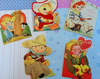 Cowboy Up with Vintage All Occasion Card Lot No 267 Lot of 5 Flocked Hat and Chaps Cute Little Boys