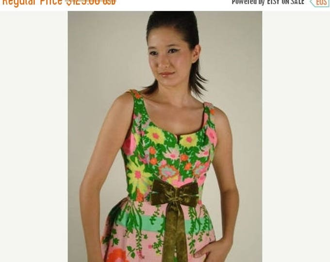 sale Vintage Dress, Long Dress,  60s Dress, Floral Dress, Tropical Dress, Maxi Dress, Bridesmaid Dress, Formal Dress, Summer Dress, Cruise D
