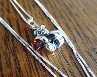 Amber Silver Necklace Bear Pendant Charm Box Chain 925 Vintage Jewelry