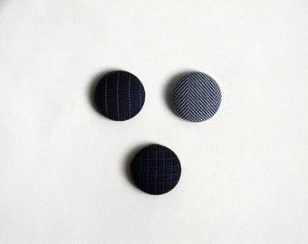 Lapel pin. Mens lapel button pin. Round boutonniere. Blue. Pinstripe. Herringbone. buttonhole.