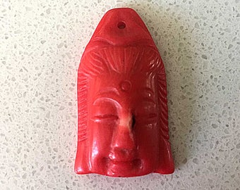 Coral Buddha Pendant Focal Bead | Vintage Tibetan Tibet Amulet Charm | Carved Coral Buddha Head | Flat Back 34mm | Ethnic Jewelry Finding