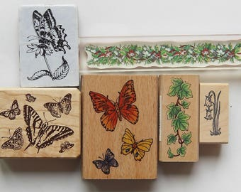 6 Rubber Stamps Set 3 Butterflies, Ivy, flower, Holly berry border