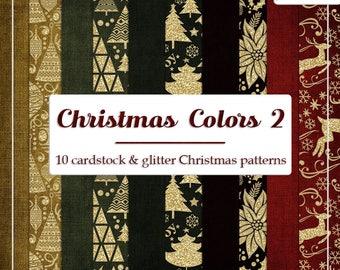 DECEMBER SALE - CU4CU Digital Papers | Christmas Colors 2 | Glitter Christmas Patterns Papers | Digital Designer Tool