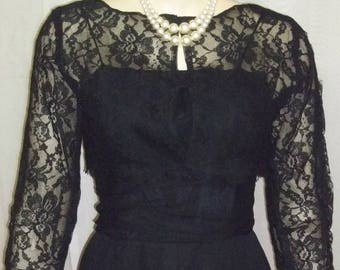 SUMMER SALE Vintage 1950's Toby Lynn Wiggle Black Dress Small Lace Bolero New York