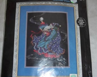 ON SALE Vintage 1995 Dimensions Counted Cross Stitch Kit Wizard Magic In Motion