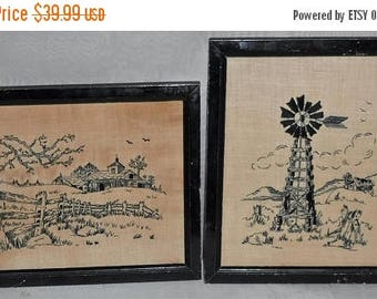 ON SALE Antique Embroidery Farmhouse Windmill Pictures Framed 11 x 9