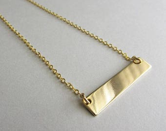 Gold Minimalist Blank Bar Necklace | Women's Modern Layering Necklace | Dainty Skinny Chain | Gift for Her | Everyday Wear | 24k Gold Plated