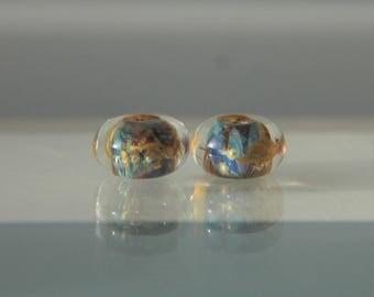 Lampwork Glass Bead Pair (2 donuts)