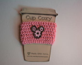 Crocheted Cup Cozy- Pink with Mickey Donut