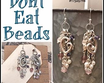 Purple Love of the mother earrings #17july798