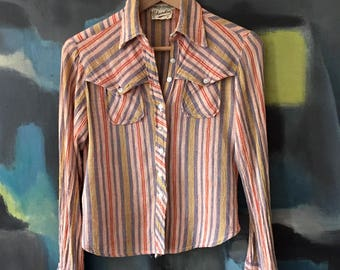 Vintage 1970s Gauze Summer Shirt CHANDRA India Striped Cotton Western Style sz S M 2 4 6 True Vintage Megan Draper Laurel Canyon Vibe