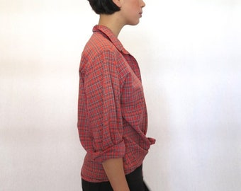 40% OFF The Red Plaid Button Up Shirt