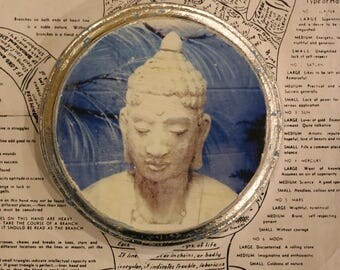 Blue, Buddha, Stone, Statue, Round, Unique, Affordable, Art, Small, 5 x 5, Wood Panel