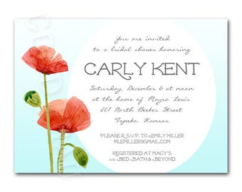 Bridal shower invitation, poppy flowers, red and blue floral baby shower invitation, printable digital DIY wedding