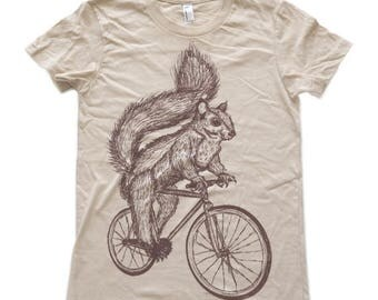 SUMMER SALE Squirrel on a bicycle - Womens T Shirt, Ladies Tee, Tri Blend Tee, Handmade graphic tee, sizes s-xL