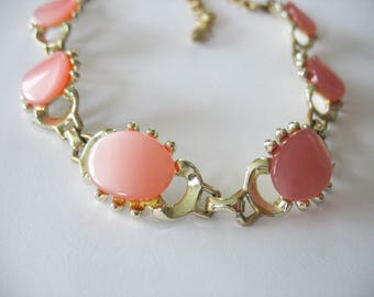 Pink Lucite Moonglow Necklace, Goldtone, 1950's, Choker Style, Cabachon, Glowing, Mid Century, Vintage Necklace