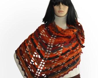 Crochet shawl, Triangular Crochet Lace Shawl Wrap Scarf Triangular Crochet Women's Shawl Wrap scarf in Autumn tones