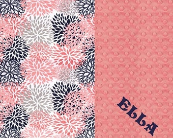 SALE Minky Baby Blanket Girl, Navy Gray Coral Flowers Personalized Baby Blanket - Nursery Decor Girl // Coral Baby Blanket // Name Baby Blan
