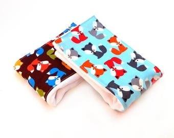 SALE Fox Burp Cloths Boy, Blue Gray Orange Brown Cotton Burp Cloth //set of 2 // Animal Boy Burp Cloth / Baby Shower Gift / Blue Burp Cloth