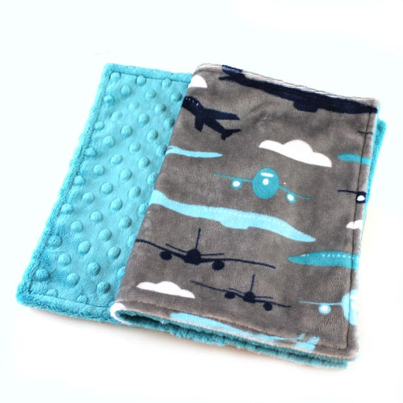 Personalized Baby Blanket Boy / plane Mini Minky Baby Blanket - Boy Lovey Airplane Blanket, Gray Blue Minky Burp Cloth / Airplane Burp Cloth