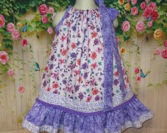 Girls Dress 2T/3T Purple Pink Flower Pillowcase Dress Pillow Case Dress Sundress
