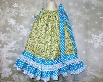 Girls Dress 2T/3T Blue Yellow Flowers, Floral, Dots, Pillowcase Dress, Pillow Case Dress, Sundress, Boutique Dress