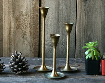 Set of Three Brass Candle Stick Set Vintage From Nowvintage on Etsy