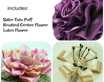 Mixed Fabric Flowers Tutorial 3 ... includes 3 flower tutorials