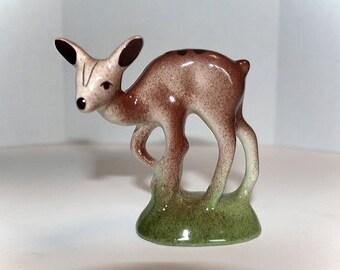 """Fawn Figurine, Ceramic Deer, Standing Fawn, Deer Figurine, 4-1/4"""" High, Woodland Decor, Wildlife Nature, Vintage Deer, Cute Baby Deer"""