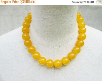 XMAS in JULY SALE Chunky Dark Yellow Beaded Necklace, Goldenrod Gemstone Beads Mustard