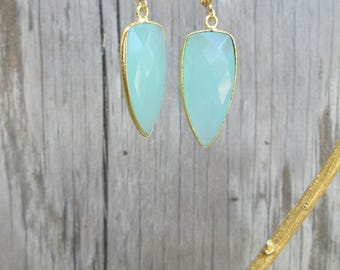 Aqua Blue Dagger Chalcedony Drop Earrings, Faceted Gemstone Gold Tone or Gold Filled