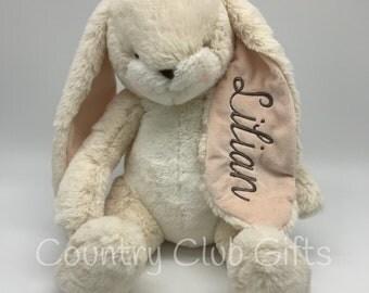 Personalized  bunny   baby shower gift   stuffed bunny   stuffed animal   Easter Basket   baby boy gift   baby girl gift   embroidered bunny