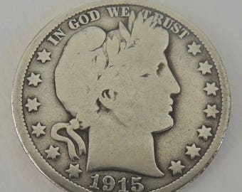Collectible 1915D Barber Half Dollar, 50 Cent Piece, Rare Coins, Silver Coins, Collectible Coins, USA Coins, FREE Shipping