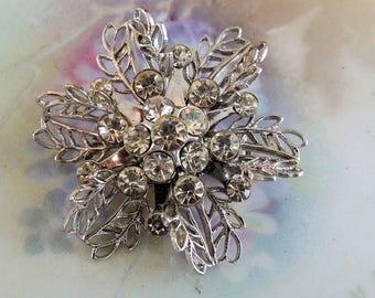 Vintage Rhinestone Brooch, Snowflake Rhinestone Brooch, Birthday Gift, Bridal Wear, Shower Gift, Bridal Bouquet