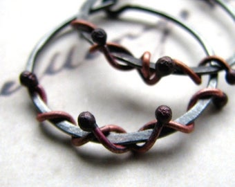 ON SALE Hoop earrings, hammered sterling silver hoops, wrapped in copper snakes, rustic hoops, boho jewelry - Medusa