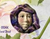 Face statement bead - OOAK Focal Bead - purple people bead - one of a kind bead supply - Handmade ceramic pendant bead   -   # 51