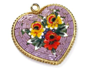 Lavender Mosaic Heart Pendant Florals Vintage Signed Italy