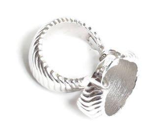 Trifari Silver Tone Hoop Earrings Ribbed Design Clip On