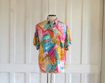 Rayon Shirt Vintage Postcards Print Shirt Oversized Sloucy Rayon Blouse